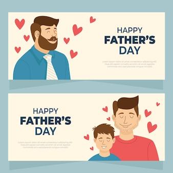 Ręcznie rysowane zestaw banerów szczęśliwy dzień ojca