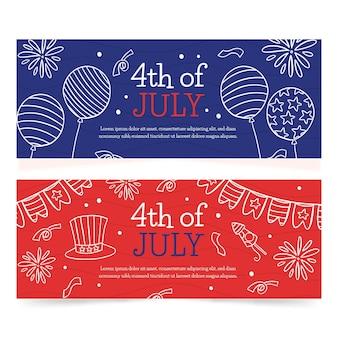 Ręcznie rysowane zestaw bannerów 4 lipca dzień niepodległości