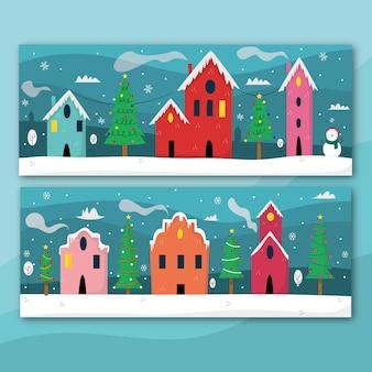 Ręcznie rysowane zestaw bannerów miasta bożego narodzenia