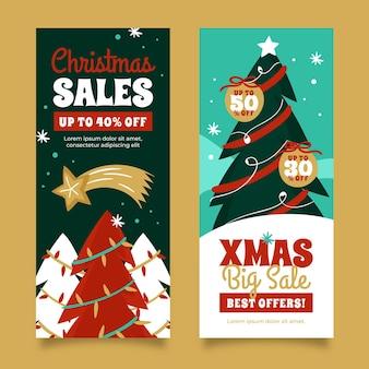 Ręcznie rysowane zestaw bannerów sprzedaży świątecznej