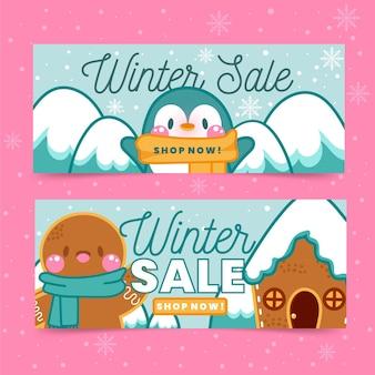 Ręcznie rysowane zestaw bannerów sprzedaży zimowej