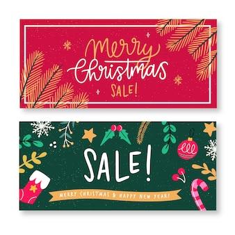 Ręcznie rysowane zestaw bannerów świątecznych