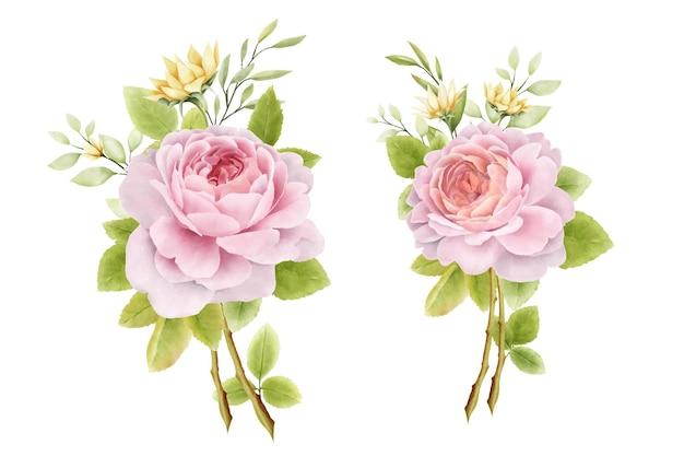 Ręcznie rysowane zestaw bukietów róż akwarela