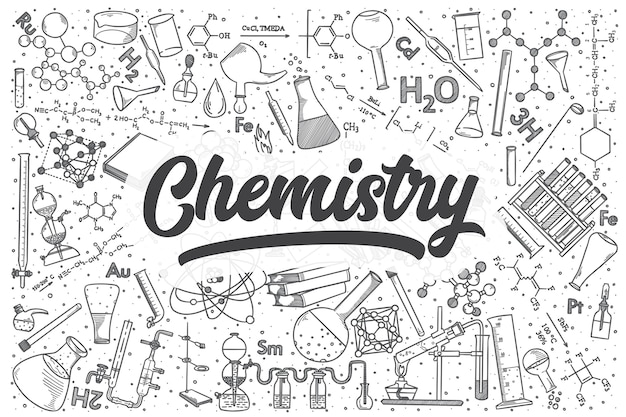 Ręcznie rysowane zestaw chemii doodle. napis - chemia