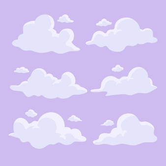 Ręcznie rysowane zestaw chmur