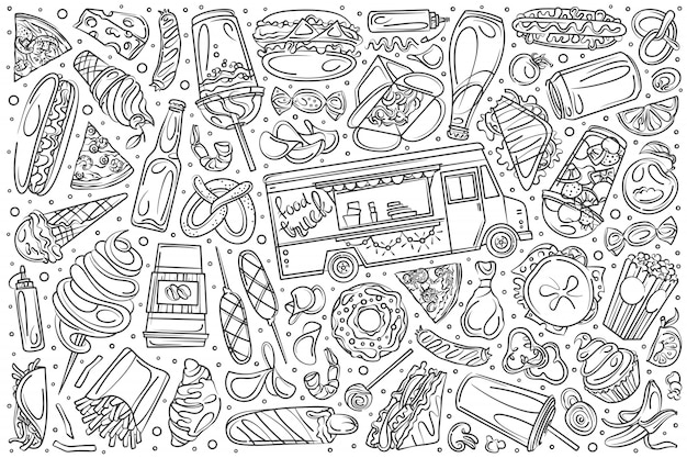 Ręcznie rysowane zestaw ciężarówka żywności doodle