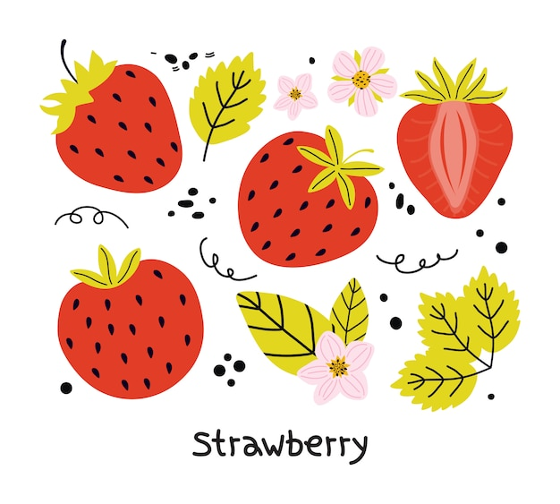 Ręcznie rysowane zestaw czerwonych truskawek z liści i kwiatów na białym tle na białym tle. elementy soczystych letnich jagód do projektowania naklejek, plakatów menu. płaska ilustracja