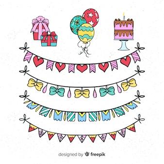 Ręcznie rysowane zestaw dekoracji strony