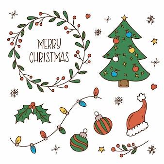 Ręcznie rysowane zestaw dekoracji świątecznych ilustracji