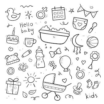 Ręcznie rysowane zestaw dla dzieci i noworodka doodle. styl szkicu. wózek dziecięcy, pielucha, smoczek, grzechotka, butelka mleka, piłka. ilustracja wektorowa.