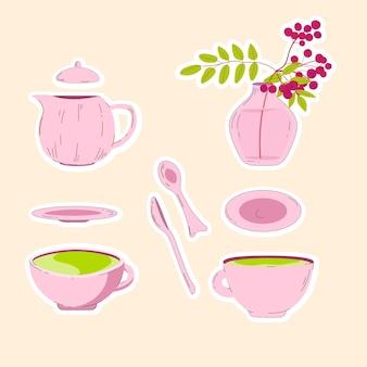 Ręcznie rysowane zestaw do herbaty