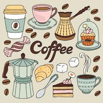 Ręcznie rysowane zestaw do kawy