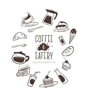 Ręcznie rysowane zestaw do projektowania kawy i knajpki