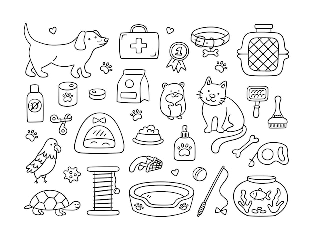 Ręcznie rysowane zestaw do sklepu zoologicznego i kliniki weterynaryjnej. zwierzęta, jedzenie, zabawki i akcesoria do pielęgnacji