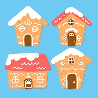 Ręcznie rysowane zestaw domku z piernika