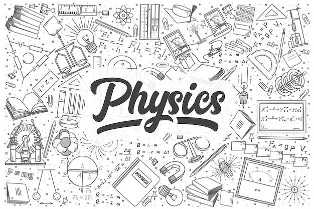 Ręcznie rysowane zestaw doodle fizyki. napis - fizyka