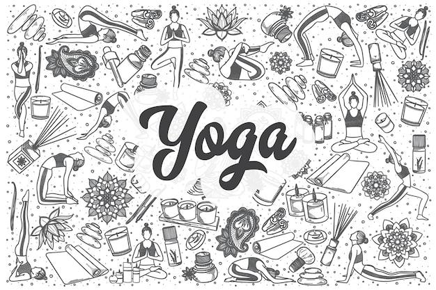 Ręcznie rysowane zestaw doodle jogi. napis - joga