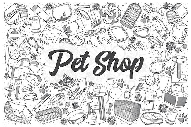 Ręcznie rysowane zestaw doodle sklepu zoologicznego. napis - sklep zoologiczny
