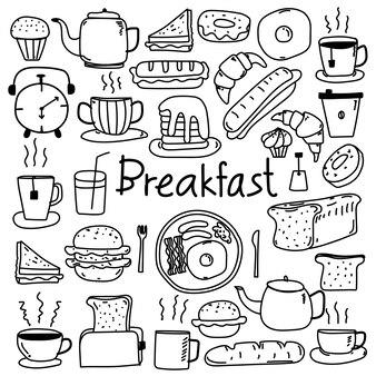 Ręcznie rysowane zestaw doodle śniadanie zestaw