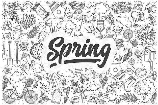 Ręcznie rysowane zestaw doodle wiosna. napis - wiosna