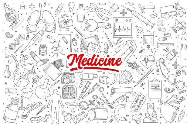 Ręcznie rysowane zestaw doodles medycyny z czerwonym napisem
