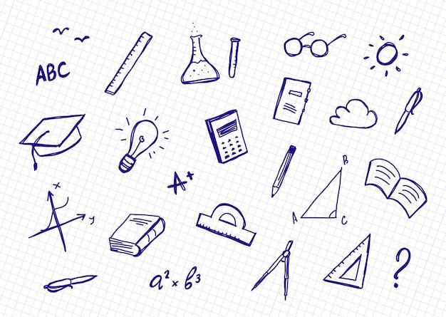 Ręcznie rysowane zestaw dostaw doddles na arkuszu zeszytu