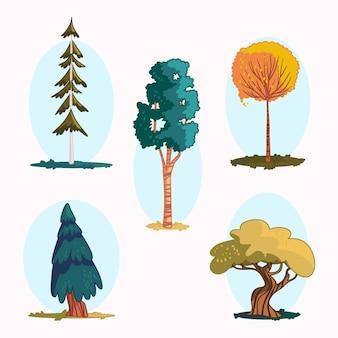 Ręcznie rysowane zestaw drzew