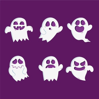 Ręcznie rysowane zestaw duchów halloween