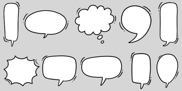 Ręcznie rysowane zestaw dymki na białym tle. doodle zestaw elementu. ilustracja wektorowa.