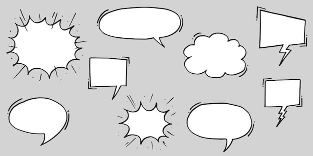Ręcznie rysowane zestaw dymków na białym tle. doodle zestaw elementu. ilustracja wektorowa.