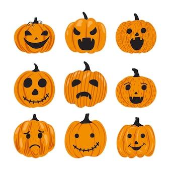 Ręcznie rysowane zestaw dyni halloween