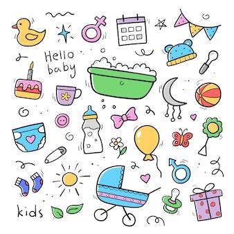 Ręcznie rysowane zestaw dziecka i noworodka doodle w kolorze. styl szkicu. wózek dziecięcy, pielucha, smoczek, grzechotka, butelka mleka, prezent. ilustracja wektorowa.