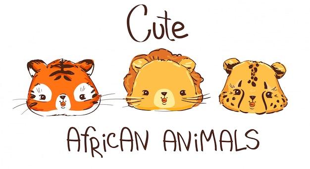 Ręcznie rysowane zestaw dzikich afrykańskich kotów, kociąt.