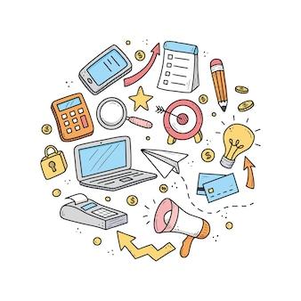 Ręcznie rysowane zestaw elementów biznesowych i finansowych, monety, kalkulator, świnka, pieniądze.