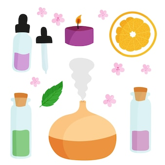 Ręcznie rysowane zestaw elementów do aromaterapii