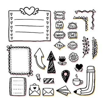 Ręcznie rysowane zestaw elementów dziennika punktorów