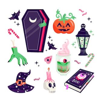 Ręcznie rysowane zestaw elementów halloween