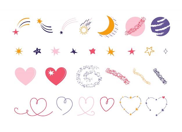 Ręcznie rysowane zestaw elementów kosmicznych na białym tle na białym tle. gwiazdy, meteor, kometa, miesiąc, planeta, księżyc, mars, serce, konstelacja. kolekcja romantycznych przestrzeni do projektowania plakatów, kart, banerów