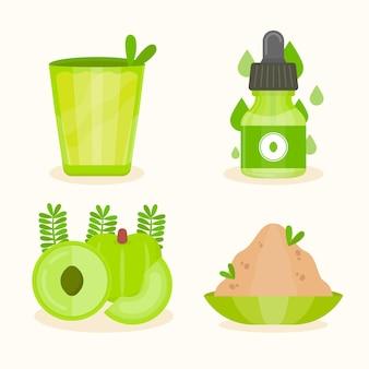 Ręcznie rysowane zestaw elementów owoców amla