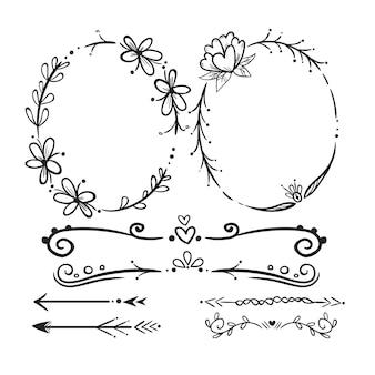 Ręcznie rysowane zestaw elementów ozdobnych