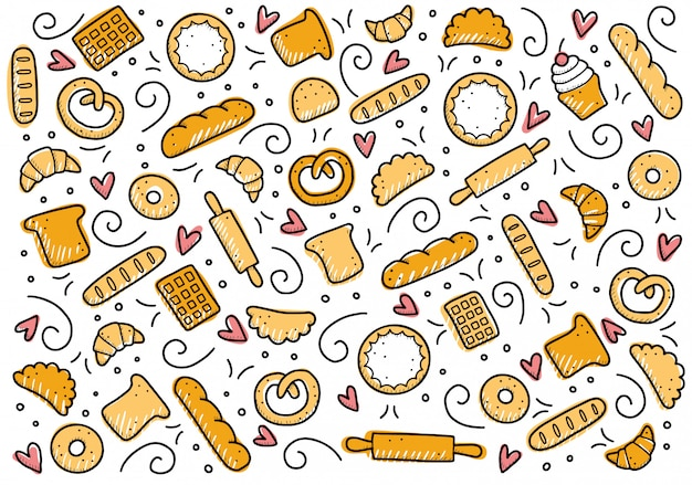 Ręcznie rysowane zestaw elementów piekarni. doodle styl.
