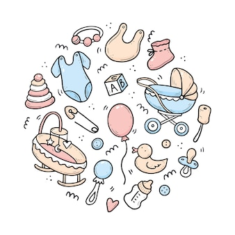 Ręcznie rysowane zestaw elementów prysznica