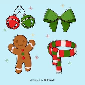 Ręcznie rysowane zestaw elementów świątecznych