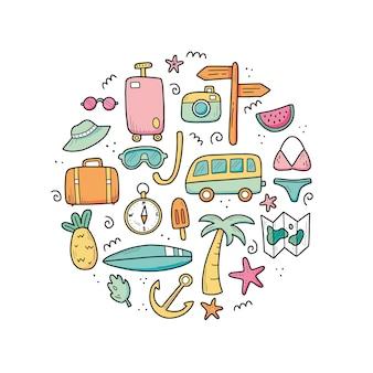 Ręcznie rysowane zestaw elementów wakacji letnich podróży