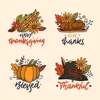 Ręcznie rysowane zestaw etykiet dziękczynienia