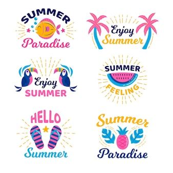 Ręcznie rysowane zestaw etykiet letnich