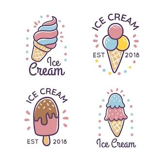 Ręcznie rysowane zestaw etykiet lody w stylu