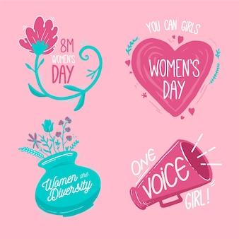Ręcznie rysowane zestaw etykiet międzynarodowego dnia kobiet