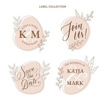 Ręcznie rysowane zestaw etykiet ślubnych