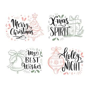 Ręcznie rysowane zestaw etykiet świątecznych